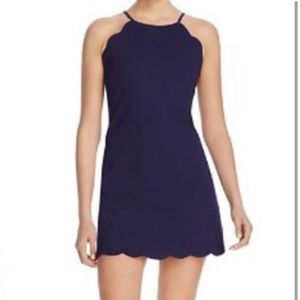 AQUA Scalloped Navy Mini dress